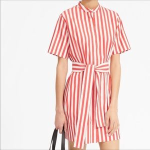 Everlane Cotton Collarless Belted Shirtdress